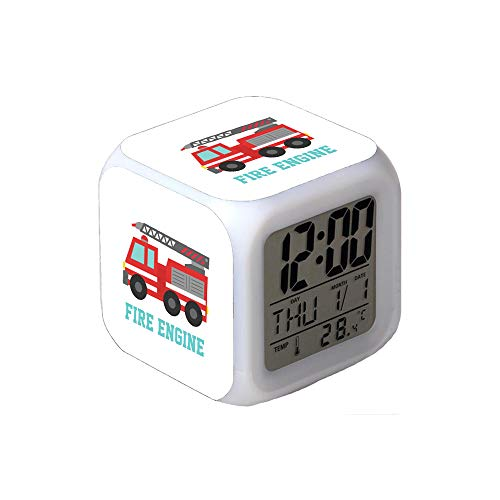 7Colors LED Changing Digital Alarm Clock Desk Thermometer Night Glowing Cube LCD Clock Home Decor Cute Red Fire Truck for Boys