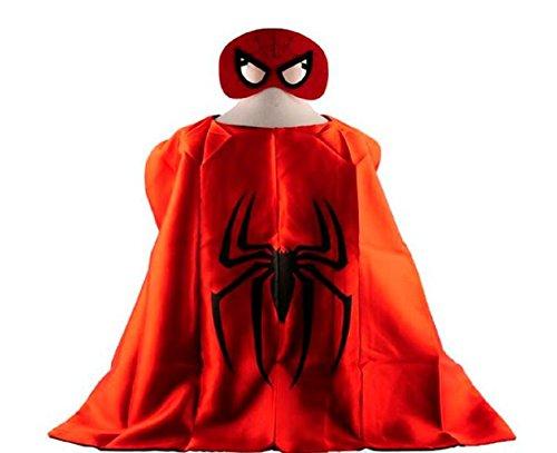 [Spiderman Superhero Cape + Mask Children Halloween Costume] (Boy Spider Halloween Costume)