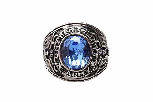 - Ztuo Blue Oval CZ Crystal Gemstone Band Vintage Mens Stainless Steel Eagle US Army Symbol Ring Size 11