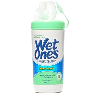 Wet Ones Sensitive Skin Hand Wipes, Extra Gentle 40 Count Canister - 1 Pack