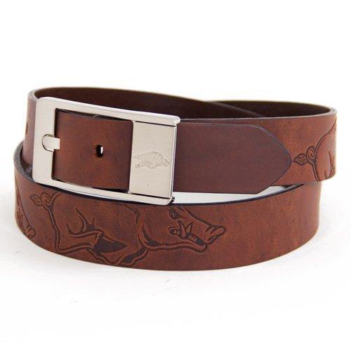 Arkansas Brown Leather Brandished Belt - 32 Waist - Bullet Logo Belt Buckle