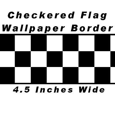 Checkered Flag Cars Nascar Wallpaper Border-4.5 Inch (Black Edge)