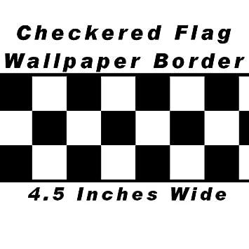 Checkered Flag Cars Nascar Wallpaper Border 45 Inch Black Edge By CheckeredWallpaperBorder