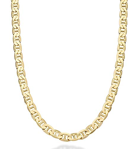 MiaBella Solid 18K Gold Over Sterling Silver Italian 6mm Diamond-Cut Flat Mariner Link Necklace Chain for Men 16-30 Inches 925 Made in Italy (18)