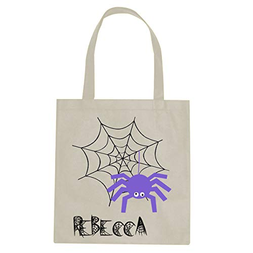 BleuReign Custom Personalized Name - Scary Spooky Purple Spider Web - Reusable Candy Halloween Trick Or Treat Ivory Tote Bag -