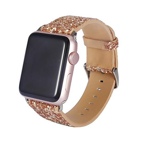 Apple Watch Band 42mm Shiny Sequin Leather with Nylon Hybrid Sweatproof iWatch Strap Replacement Bands with Stainless Metal Clasp for Apple Watch Series 1 2 3 (Gold)