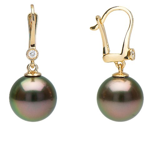 Tahitian Cultured Pearl and Diamond Bezel Dangle Earrings,12.0-13.0mm,AAA,18K White Gold Clasp. (Diamonds 13mm Tahitian Pearl Ring)