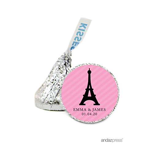 Andaz Press Personalized Chocolate Drop Labels Stickers, Wedding, Paris Eiffel Tower, 216-Pack, Custom Name, For Hershey's Kisses Party Favors, Gifts, (Paris Kiss)