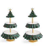 FENGHE 'Be Merry Snack' stojak na miskę, bożonarodzeniowy stojak na przekąski, kreatywny kosz na przekąski ze zdejmowanym organizerem kosza, na Boże Narodzenie herbatniki deser talerze owocowe dekoracje imprezowe