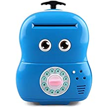 WINCOTEK Electronic Piggy Bank Saving Box Code Save Money Coin Box Toys for Kids (Blue)