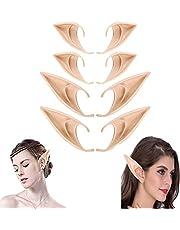 Swkangrd 4 paar elfenoren kanten oorringen latex elf oren Halloween oren dames kanten horloges voor volwassenen cosplay kerstfeest Halloween carnaval kostuum maskerade accessoires