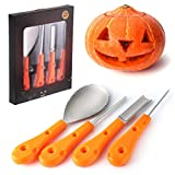 Pumpkin Carving Kit 4 Pieces - Professional Stainless Steel Pumpkin Carving Tools DIY Pumpkin Lantern Tools Carving Tools Set for Kids and Adults