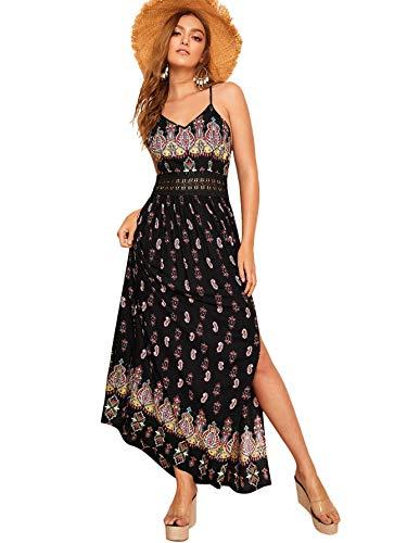 (Floerns Women's Sleeveless Sundress Beach Maxi Long Dress Black-1 XS)