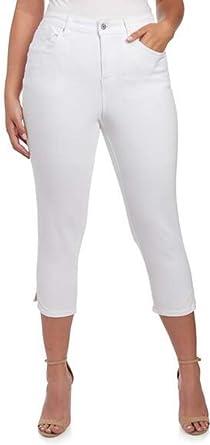 36c95a7e6fdf7 Earl Jean Women's Plus Size Shaper Cropped Skinny Jeans, White at ...