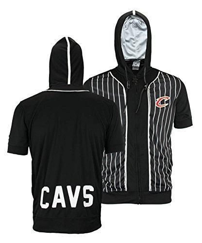 (Cleveland Cavaliers NBA Mens Full Zip Short Sleeve Pinstripe Hoodie, Black)