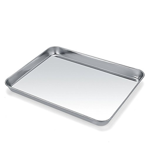 Baking Sheet Pan for Toaster Oven, Umite Chef Stainless Steel Baking Pans Small Metal Mini Cookie Sheets, Non Toxic, Superior Mirror Finish Easy Clean, Dishwasher Safe, 9 x 7 x 1 inch by Umite Chef