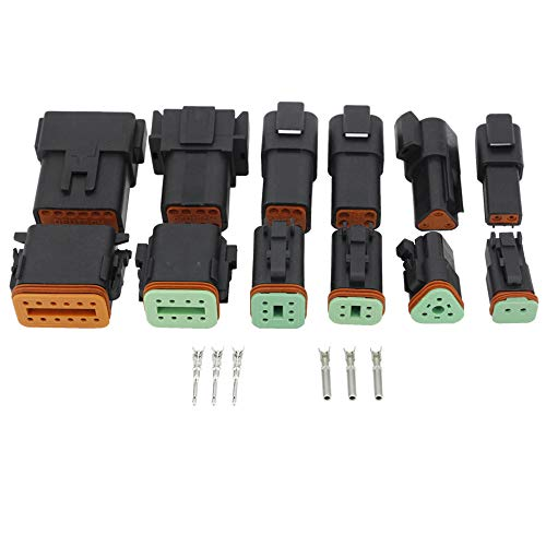 - Black 6 Sets (2+3+4+6+8+12) Pin Waterproof Wire Electrical Connector Plug 22-16AWG Automobile Connector