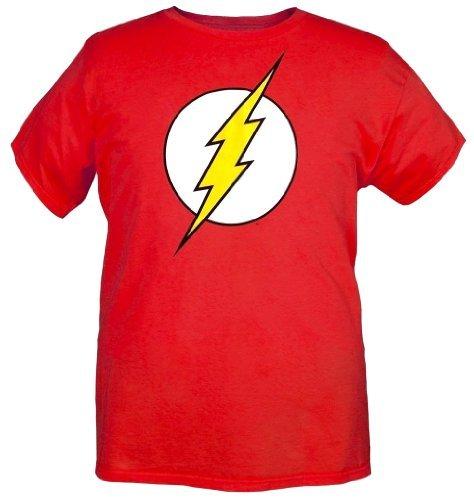 Mens Officially Licensed DC Comics Flash Logo T-Shirt (XL, Red) (Mens Red T Shirt Xl)