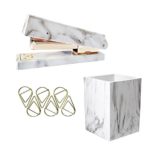 Gold Finished Holder Pen (UNIQOOO 3 Count Marble Print Gold Finished Stationery Set Desk Stapler, Pen Holder, Paper Clips for Office Supplies School Students Decorations)