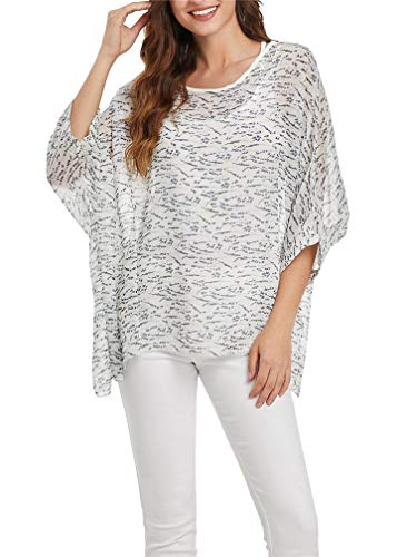 LeaLac Women's Bohemian Contemporary Style Batwing Sleeve Butterfly Printed Chiffon Shirt L276-4353