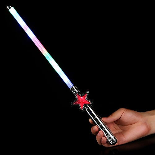 Fun Central M900, 1 Pc, 15 Inches, Multicolor LED Light Up Star Wand, Light Up Wands, Glow Wand, Magic Wand for Kids, Magic Wand Toy, Princess and Fairy Themed Party, Halloween