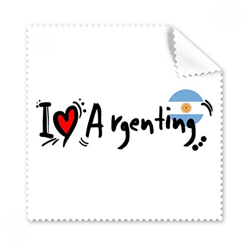 I Love Argenting Word Flag Love Heart Illustration Glasses Cloth Cleaning Cloth Phone Screen Cleaner 5pcs Gift