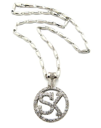"""New Iced Out 'SK' STREET KING Pendant 4mm&24"""" Bullet Chain Hip Hop Necklace MZ87R"""