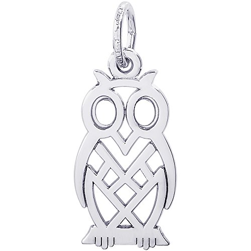 Charm Owl Rembrandt - Rembrandt Charms 14K White Gold Flat Owl Charm (0.73 x 0.45 inches)