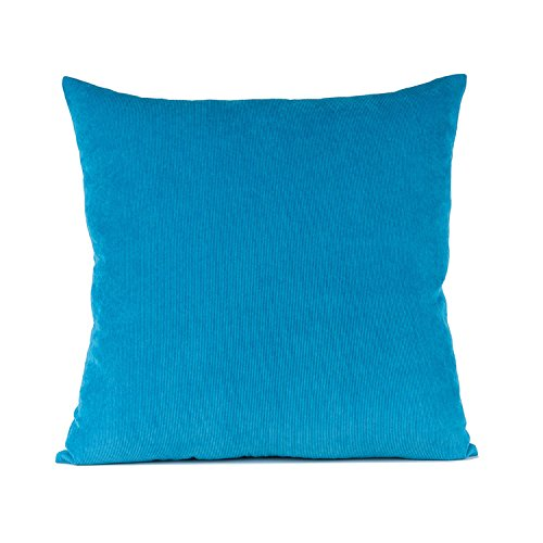baibu Corduroy Decor Throw Pillow Cover (11Colors and 5 Sizes Available) Solid Pillow Case for Sofa Blue 24x24