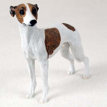 Whippet Dog Figurine - Brindle & White