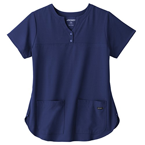 Classic Fit Collection by Jockey Women's Button Notch Neck Shirttail Solid Scrub Top X-Large New Navy (Scrub Shirttail)
