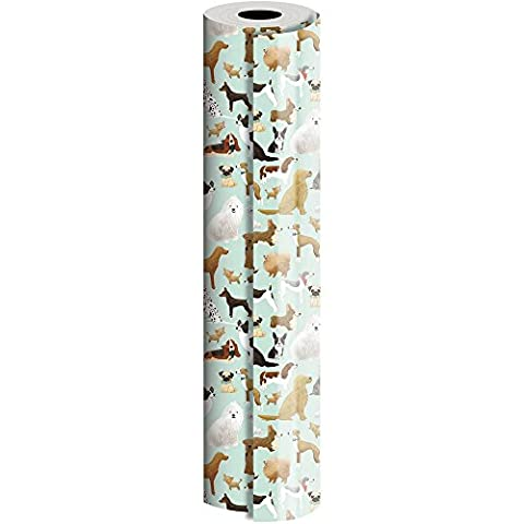 JAM Paper® Industrial Size Bulk Wrapping Paper Rolls - Best in Show Design - 1/2 Ream (834 Sq Ft) - Sold - Golden Retriever Wrapping Paper
