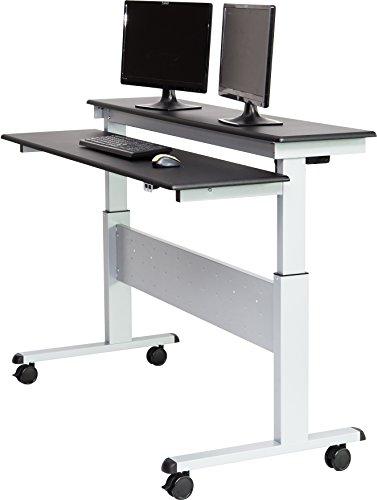 60 split top electric stand up desk black shelves general general. Black Bedroom Furniture Sets. Home Design Ideas