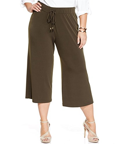 jones new york signature women cropped wide leg pants plus size 3x (Olive Pinstripe Suit)