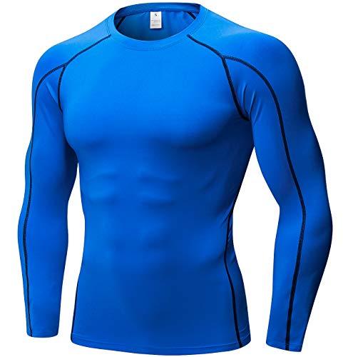 SILKWORLD Men's Long-Sleeve Compression Shirt Base-Layer Running Top,Blue, M -
