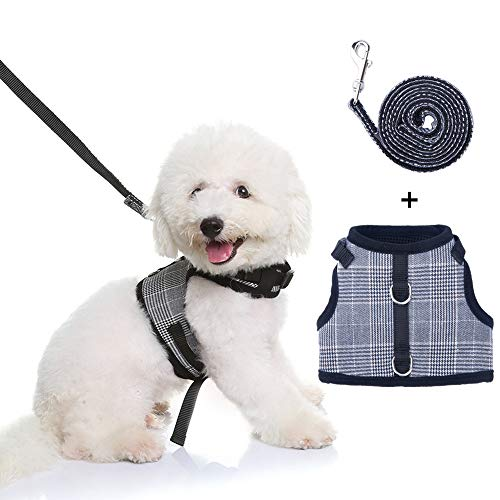 KOOLTAIL Plaid Small Dog Harness and Leash Set Adjustable Dog Vest for Small Dogs Black & White