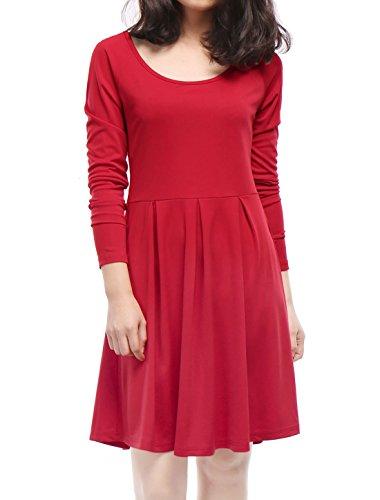 Allegra K Women Raglan Sleeves Scoop Neck Above Knee Pleated Flare Dress XS Red (Raglan Flare Dress)