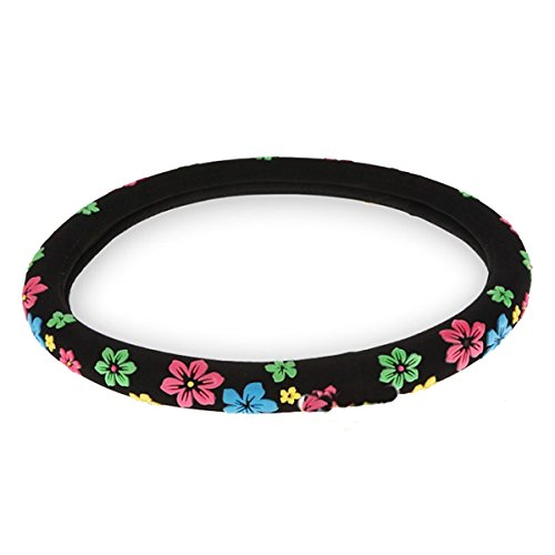 TOOGOO Flannelette Steering Wheel Cover with Multicolor Flowers