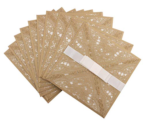(DriewWedding 20 pcs Wedding Invitations, Laser Cut Lace Invitation Cards, Classic Square Design for Bridal Baby Shower, Engagement, Birthday Party, Graduation,Christmas with Envelope & Ribbon Bow)