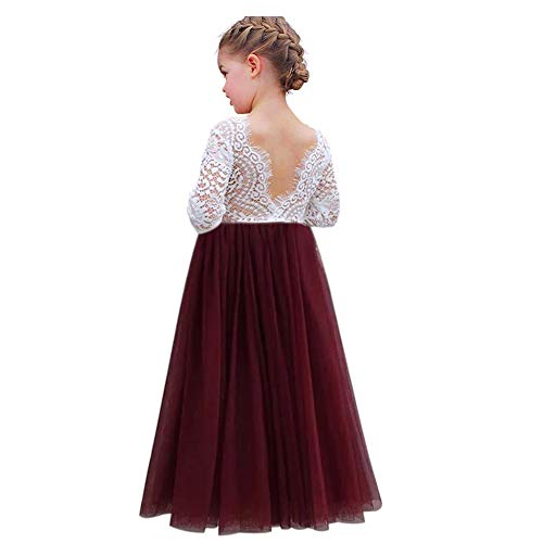 luckymily Girls Lace Tulle Dress Backless Long Sleeve