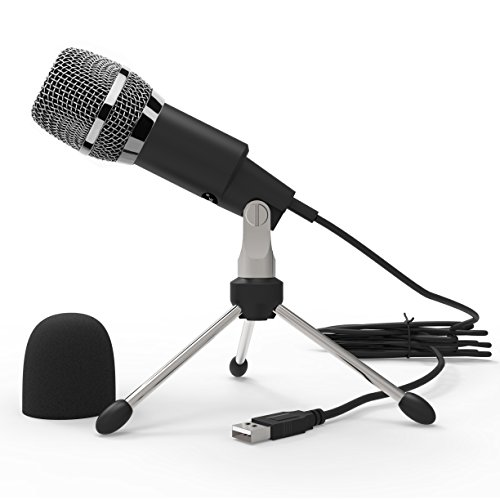 Dansrue USB Microphone, Plug & Play Home PC Computer Studio USB Condenser Microphone with Metal Stand for Skype YouTube Recording Google Voice Search Games (Black)