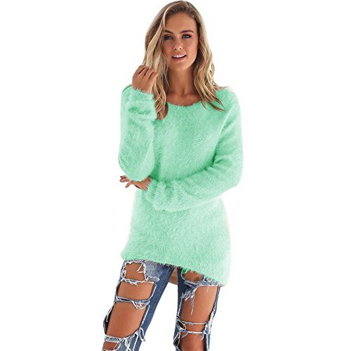 Hunzed Women 【Solid Color Plush Sweater】 Women Winter Casual Long Sleeve Jumper Sweaters Blouse (X-Large, Green)