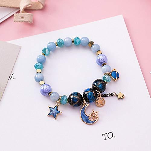 LIICC Creative Star Bracelet Bohemian Star Moon Glass Beads Crystal Beaded Ornaments -