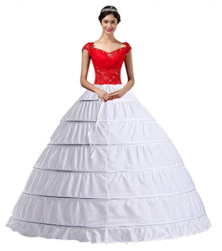 - YULUOSHA Women Crinoline Hoop Petticoats Skirt Slips Floor Length Underskirt for Ball Gown Wedding Dress