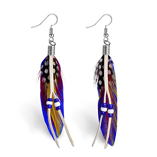 Natural Feather Jewelry Earrings (Yumei Jewelry Cute Handmade Natural Goose Feather Earrings)