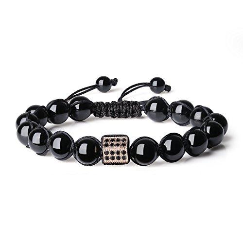 COAI Adjustable Reiki Healing Rhinestone Pave Charm Tourmaline Stones Ladies Bracelet