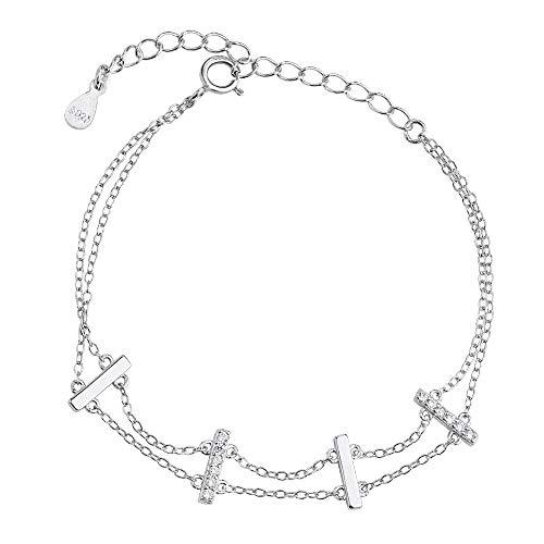 Prjewel Solid Sterling Silver Double Chain Bar Bracelets for Women 6