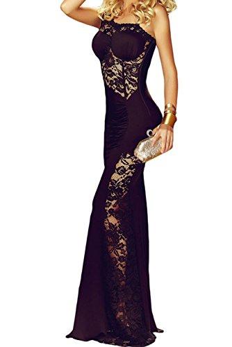 YeeATZ Black Lace Insert One Shoulder Evening Gown(Size,S) by YeeATZ