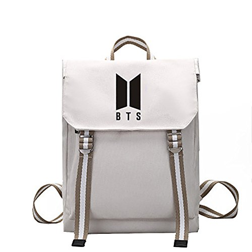 Schoolbag Handbag Bts Printing Girl Character Kpop Shoulder Beige Backpack Canvas For Boy XxTnZ