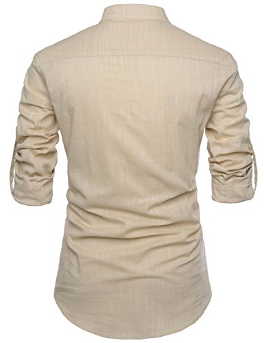 Cuello Nearkin Hombres Diario Camisas beige Henley Nknkn350 Lino Look Amada Manga Larga rtapt
